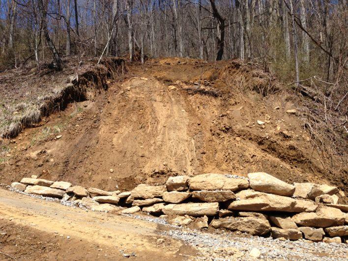 Mudslide Rock retaining wall