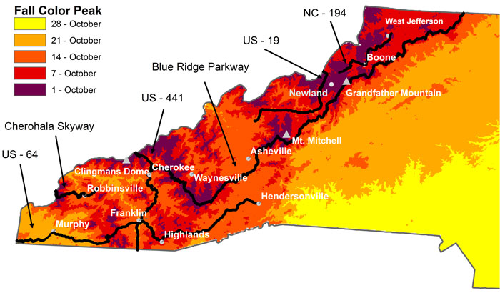 From: https://biology.appstate.edu/fall-color-report/fall-color-map-north-carolina