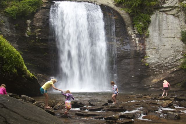 Looking Glass Falls Kids Playing