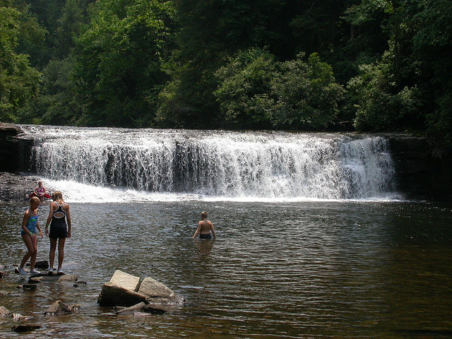 Hooker Falls, a popular swimming hold in Dupont State Park