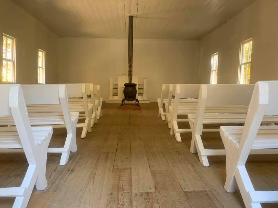Inside Little Cataloochee Baptist Church